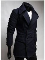 Мужские изделия из шерсти Men's Woolen Jacket Double Pea Trench Coat New Badges Design Leisure Winter Coat, Wool & Blends, 100%Warranty F352