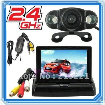 High quality car reverse camera monitor kit 2.4Ghz wireless Night vision Rear view reversing backup camera Car security