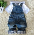 boy  denim suspenders long trousers   children's cowboy gallusus pant
