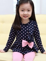 Girl suit 100~140 Baby clothing set Navy/Pink set Princess Kids clothes suit Blouse+pants