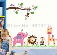 3rd Generation JM7126 60*90cm Jungle DIY Photo Frame PVC Wall sticker/Decor Stickers Wandttattoo Room Decals Kids Free Shipping