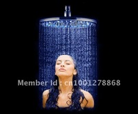 "2012 new design 16"" brushed led rain shower 40x40cm free shipping"