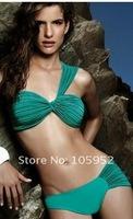 free shiping fashion One-shoulder  original  design  green fold sexy bikini  bathing suit  swimwear