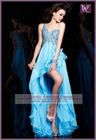 APB0420 2012 Sexy Backless Full Beaded Corset Blue Chiffon Short Front Long Back Prom Dress