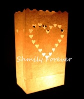 Free Shipping! 50 X Heart Paper Candle Bag Lantern For Party Wedding