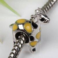5pcs Yellow Enamel Giraffe Big Hole Charm European Beads Fit Bracelet