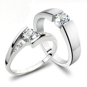 ... ring 925 wedding ring couple finger rings with diamond never fade