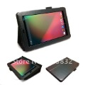 Hot Saling    Bracket Stand Leather Case Cover  for Google Nexus 7   Free Shipping