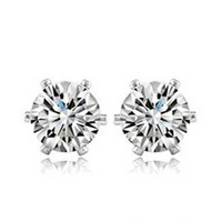 18k GOLD GP Lady Man Cubic Zirconia Square clear stone stud earring GIFT box