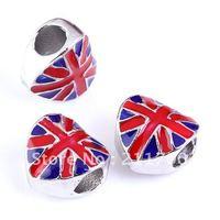 5pcs Enamel UK Flag Heart Big Hole European Charm Beads Fit Snake Chain