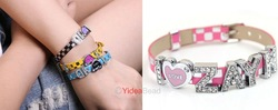 DIY Handmade 6pcs I LOVE ZAYN Letter Rhienstone Pink Leather wristband bracelet 191005(China (Mainland))