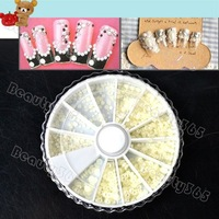 New Nail Art Decoration Pearl Rhinestone With Wheel White, Nail Rhinestones, Nail Beads  Wholesale 4515