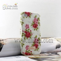 2012 Rose flower/Star/Polka dots Hard Double Case for iPhone 4S Pastoral style Front and Back Cover for iPhone 4S