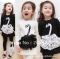 CHINA POST AIR MAIL free shipping 4 pcs/lot,2012 wholesale girl&#39;s swan suit(long sleeve t-shirt + lace swan legging pants)