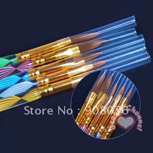 2-Ways Sable Acrylic Nail Art Brushes Pen Nail Brushe Cuticle Pusher 5PCS/SET Free shipping Best selling!(China (Mainland))