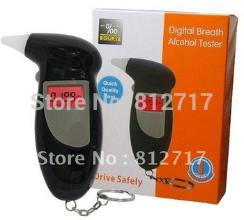 Free shipping! 5pcs/lot new keychain Alcohol Tester Breathalyzer, 3-digit LCD & red Backlight & 5pcs Mouthpieces