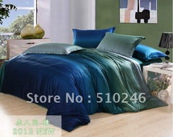 free shipping new arrival high quality 4pcs 40s cotton satin Gradient color green blue bed sheet duvet cover set bedding set(China (Mainland))
