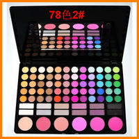 High quality 78 color eye shadow makeup tray 12 +6 pearlescent eye shadow blush P78 2#  free shipping