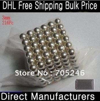 100X Free Shipping Neodymium 216 Pcs/Set 3mm Neo Cube N35 Neocube Balls Silver