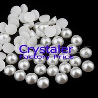 Free Shipping 4mm 5000 pcs/lot Pure White  Flat back Half Pearl beads Embellishment wedding