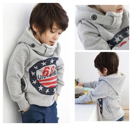 Winter Thick Hoodies child clothes sweatshirt with a hood thickening plus velvet basic outerwear,kid fashion coat(China (Mainland))
