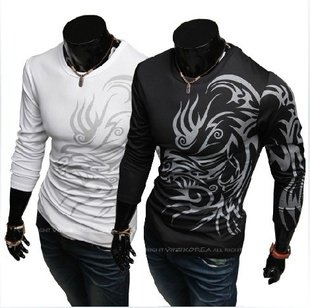 European and American style dragon totem tattoo long sleeve  2014 Brand poloshirt t shirt for men tshirt