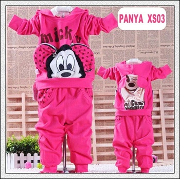 PANYA XS03 Retail 1set coat+pant Mickey children set autumn winter long sleeve 1-5 Years baby suit kids set fashion new year