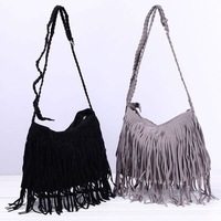 Women Fringe Tassel Faux Suede Hobo Shoulder/Messenger Satchel Bag Handbag#W940