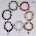Wholesale 48pc/lot Cloisonne Rosary Beads Bracelets Sideways Cross Crystal Rhinestone Copper Enamel Handmade Religious Bracelet