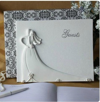 Bride and Groom Design Wedding Guest Book in White Resin for Wedding Decoration Party Ceremony Stuff Supplies Free Shipping