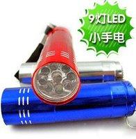 Free shipping Hot sale waterproof Mini 9 LED flash light lamp brightness white light for climbing camping hiking fishing 1000PCS