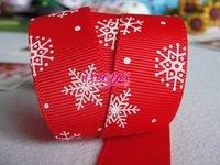 "Free shipping 100 yards christmas series Snowflake printing grosgrain ribbon 1""(22MM) width"