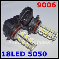 Free shipping 10pcs/lot 9006(HB1) 18 SMD 5050 Car LED FOG LAMP Light High Beam Light Car Auto / Tail / Head light