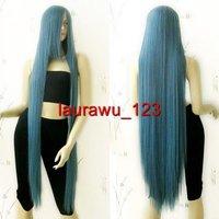 """51"""" Ex-Long Bang Grey Blue Straight Cosplay Wig"""