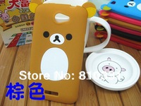 New Cartoon Rilakkuma Lazy Bear Soft Back Case for HTC ONE S z520e z560e, With Retail Package,1pcs min order