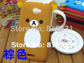 2014 New Cartoon Rilakkuma Lazy Bear Soft Back Case for HTC ONE S z520e z560e, With Retail Package,1pcs min order