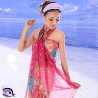 Silk scarf summer long design beach silk scarf large scarf female autumn