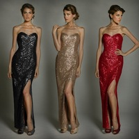 Long Handmade Paillettes Tube Top Slim Evening Dress j1041