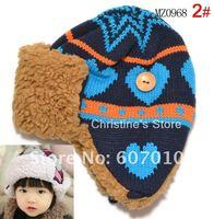 MZ0968 NEW Arrival 100% wool warm children hats boy&girl winter caps with earflap, 10pcs/lot