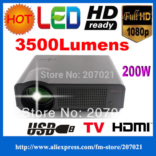 Free shipping!! Full hd 3500lumens WXGA 720P Portable LCD LED 2HDMI USB Video projectors 1280*768 Built-in Speaker 0.5Watts(China (Mainland))