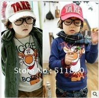 free shipping 2012 new cartoon tigger children's long sleeve O-neck T-shirt,boy's cartoon cotton T-shirt
