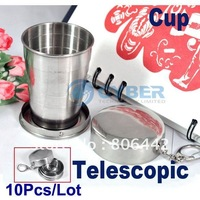 10Pcs/Lot Tourism Supplies Outdoor Camping And Stainless Steel Foldable Cup, Telescopic Cup, Magic Travel Cup 75ml Free Shiping