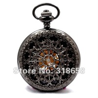 Luxury Roman Number Wind Up Men's Mechanical Pocket Watch With Necklace Chain H117