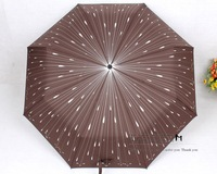 Free shipping 2012 new arrival hot sale High quality umbrella,Creative meteor raindrop/UV/3 folding Umbrella,brown 6pcs/lot