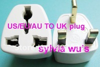 FREE SHIPPING  10PCS/LOT  New US AU EU to UK 3Pin Travel Adapter Converter Outlet Plug PC White