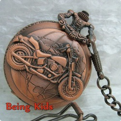 Free Shipping Mens Motorcycle Cool Jewel Rare Vintage Red Pocket Watch Special Design+Chain(China (Mainland))
