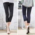 2012 summer all-match new arrival double paillette faux denim legging capris 6038