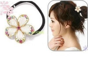 (buy $ 6, free shipping) fashion colorful five leaf flowers hair ring hair rope elastic hair bands