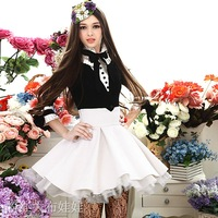 2012 winter Rose black fur collar ruffle skirt thick wool coat women outerwear