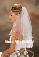 Hot Sale 2012 In Stock Two Layers White  Veils Tulle Pearl Ribbon Edge Comb Wedding Veil Bridal Accessory